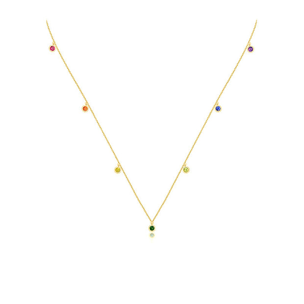 18k Gold Raindow Color Gemstone Necklace / Choker