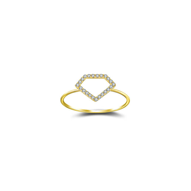 18k Gold Hollow Diamond Shape Diamond Ring - Genevieve Collection