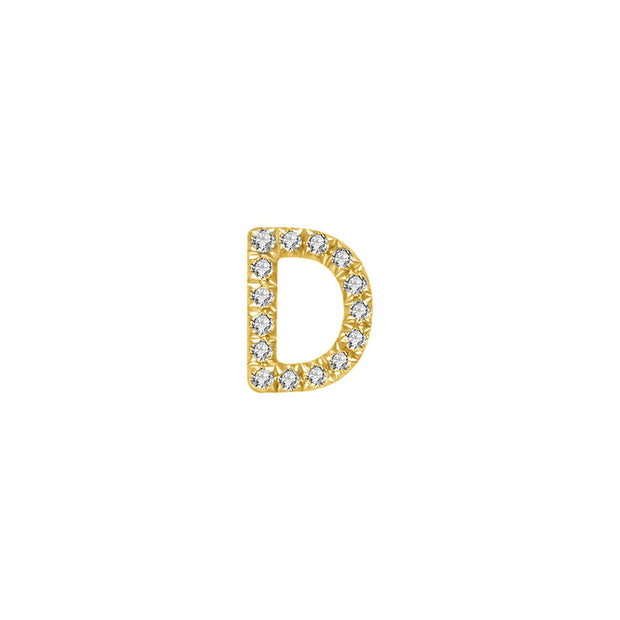 "18k Gold Initial Letter ""D"" Diamond Pandent + Necklace - Genevieve Collection"