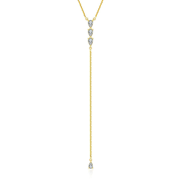 18k Gold Triple Drop Shape Dangling Diamond Necklace - Genevieve Collection