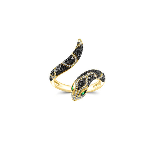 18k Gold Snake Shape Diamond Open Ring - Genevieve Collection