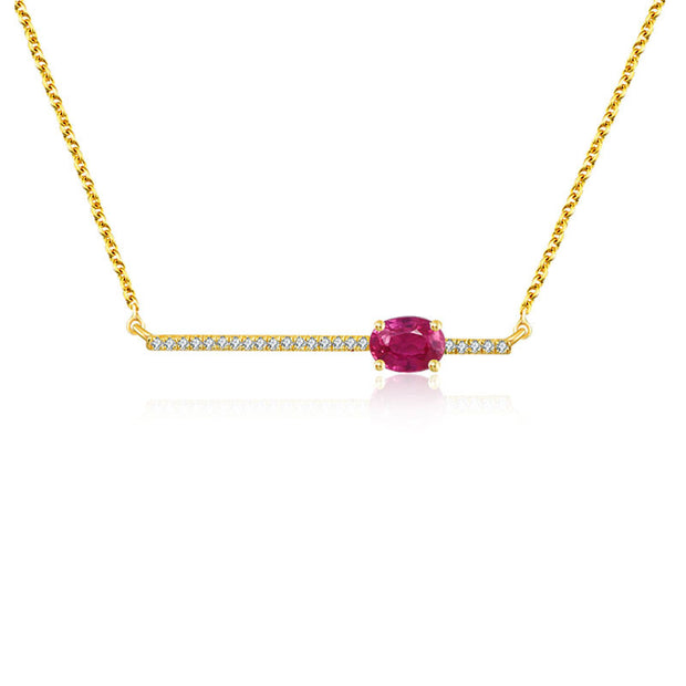 18k Gold Line Diamond Necklace with Ruby - Genevieve Collection
