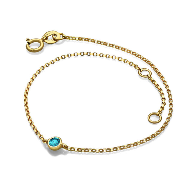 18k Gold December Birthstone Topaz Bracelet - Genevieve Collection