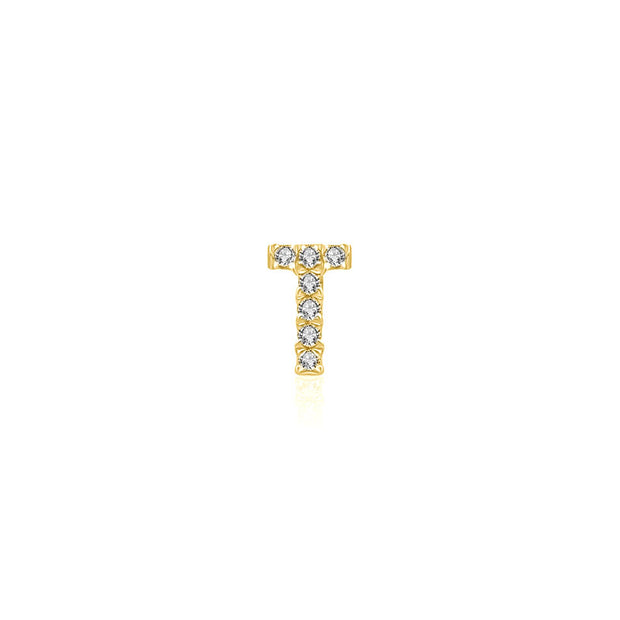 "18k Gold Initial Letter ""T"" Diamond Pandent + Necklace - Genevieve Collection"