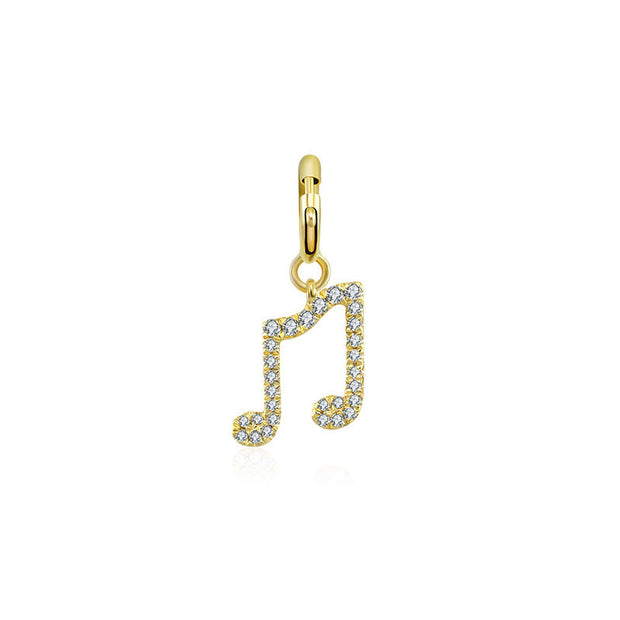 18k Gold Double Eighth Note Sign Diamond Charms - Genevieve Collection