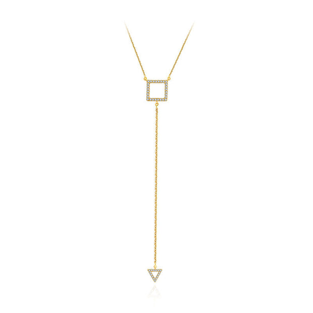 18k Gold Hollow Square Dangling Diamond Necklace - Genevieve Collection
