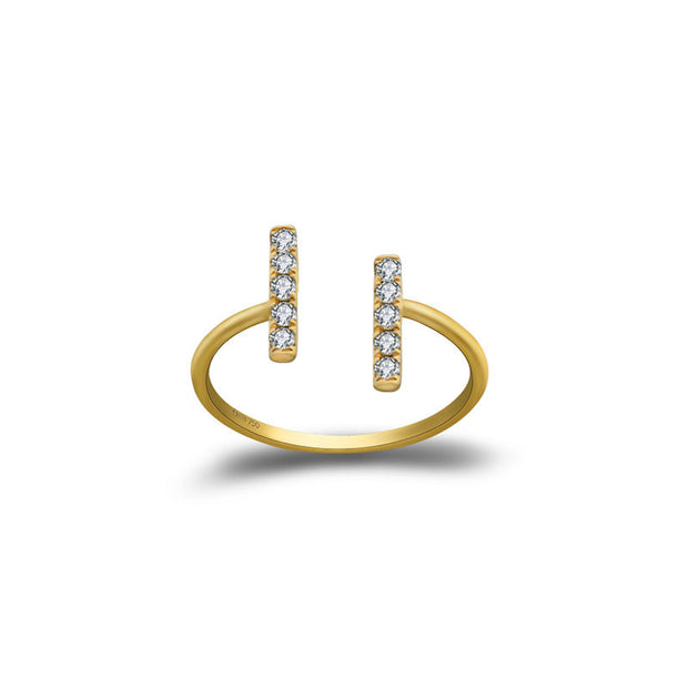 18k Gold Strokes Diamond Midi / Pinky Ring - Genevieve Collection