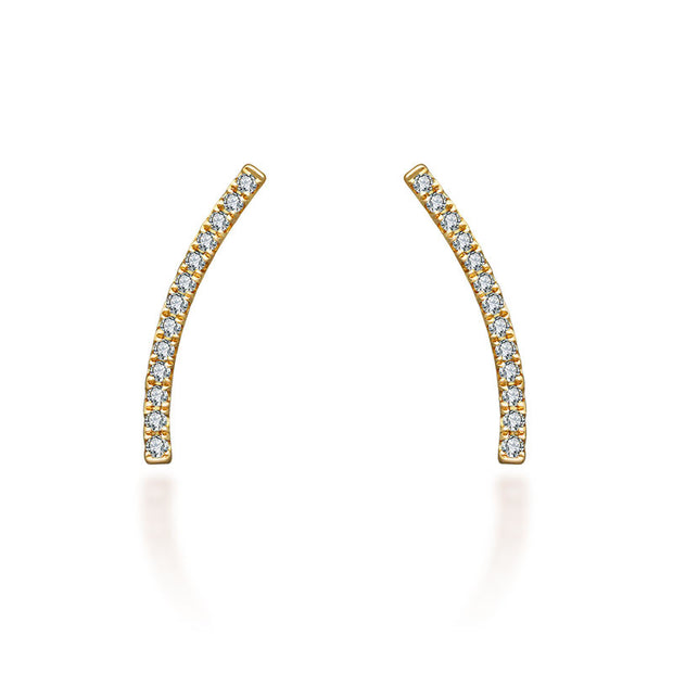 18k Gold Single Diamond Curved Bar Upward Earring - Genevieve Collection