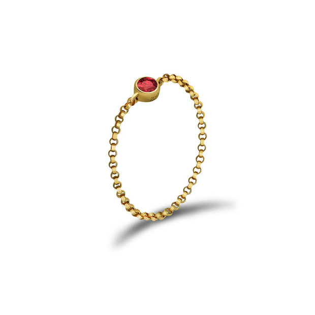 18k Gold January Birthstone Garnet Chain Ring - Genevieve Collection