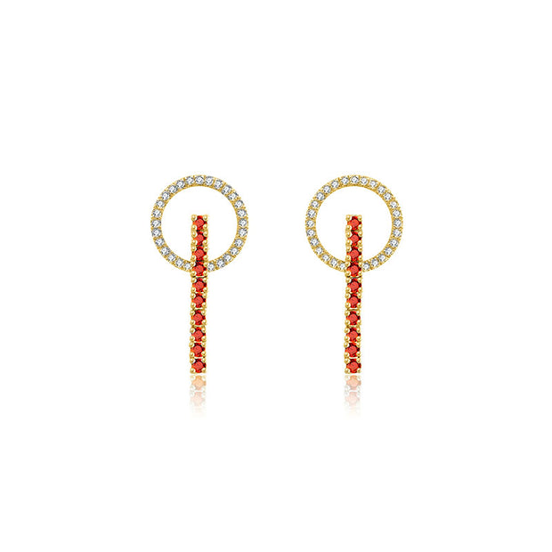 18k Gold Hollow Round Shape with Line Ruby Earring - Genevieve Collection