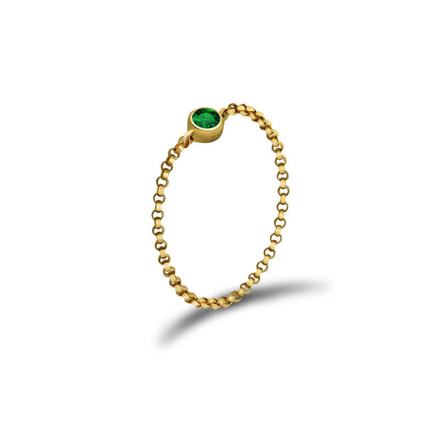 18k Gold May Birth Stone Emerald Chain Ring - Genevieve Collection
