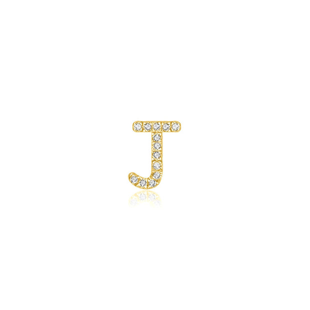 "18k Gold Initial Letter ""J"" Diamond Pendant - Genevieve Collection"
