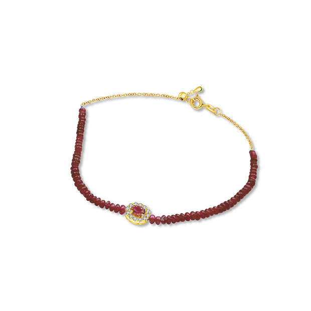 18k Gold Ruby Beaded Diamond Bracelet - Genevieve Collection