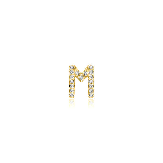 "18k Gold Initial Letter ""M"" Diamond Pendant - Genevieve Collection"