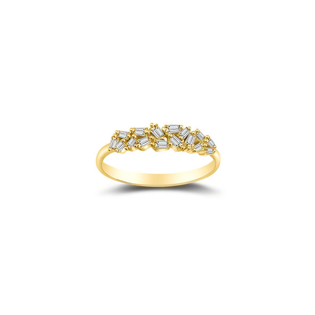 18k Gold Irregular Shape Diamond Ring - Genevieve Collection
