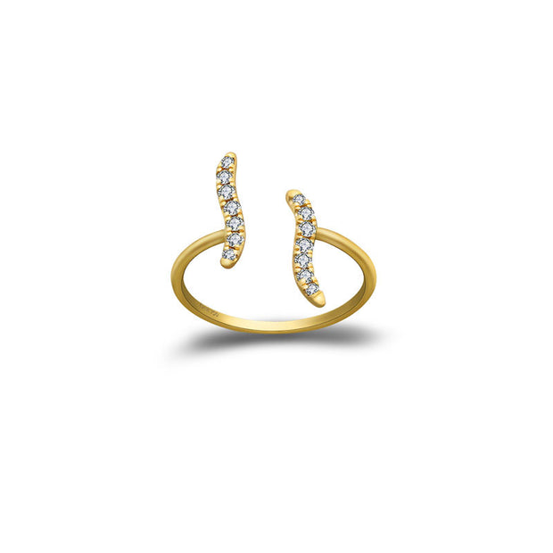 18k Gold Wavy Diamond Midi / Pinky Ring - Genevieve Collection