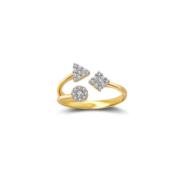 18k Gold Three Shape Diamond Open Ring - Genevieve Collection
