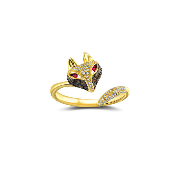 18k Gold Fox Shape Diamond Open Ring - Genevieve Collection