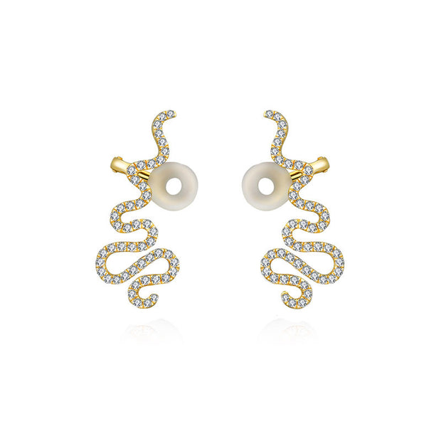 18k Gold Long Snake Shape Diamond Earring - Genevieve Collection