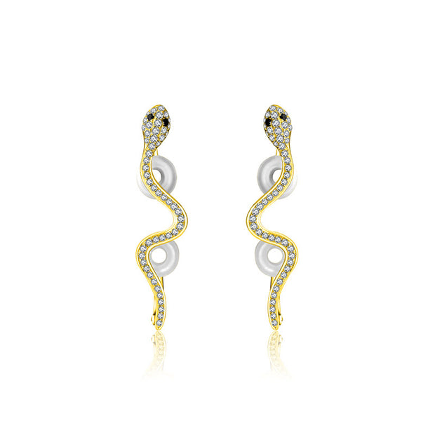 18k Gold Snake Diamond Ear Cuff - Genevieve Collection