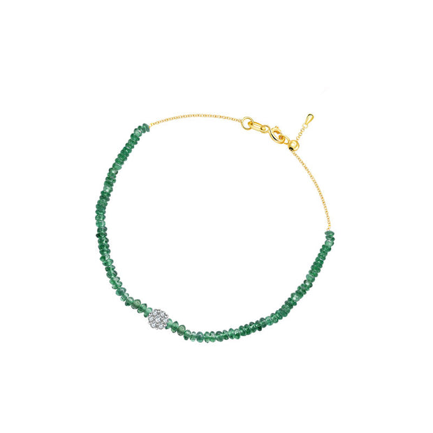 18k Gold Emerald Beaded with Flower Shape Diamond Bracelet