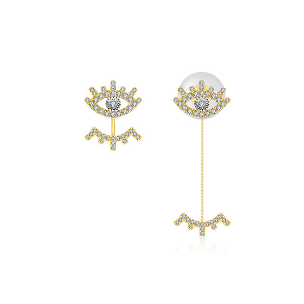 18k Gold Evil Eye & Eyelash Diamond Chain Earring & Ear Jacket - Genevieve Collection