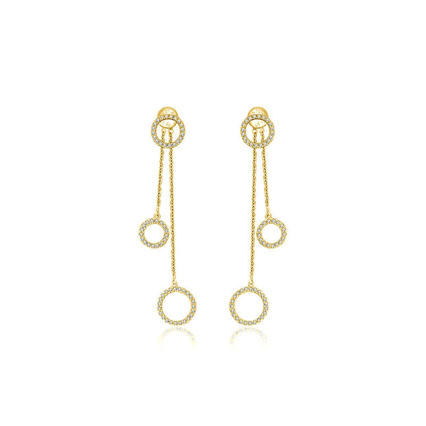 18k Gold Hollow Round Shape Diamond Dangle Earring