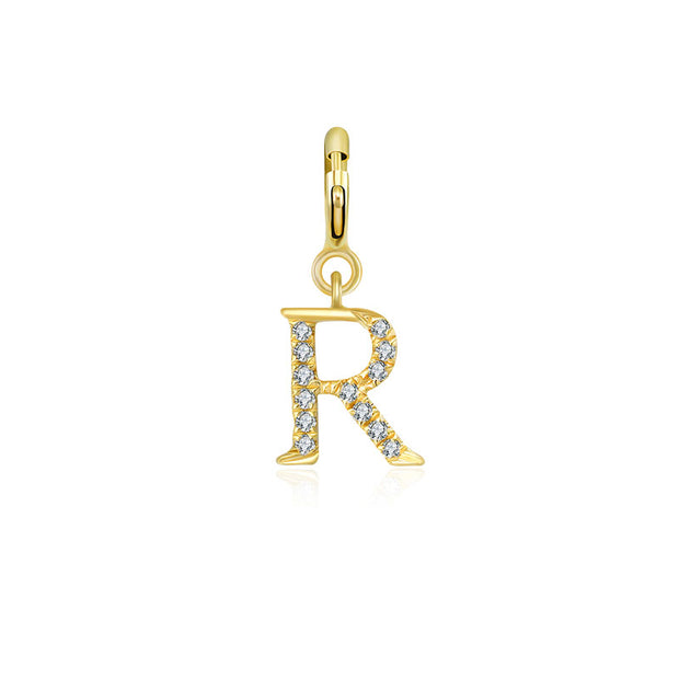 "18k Gold Letter ""R"" Diamond Charms - Genevieve Collection"