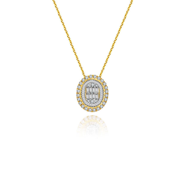 18k Gold 2 ways Round Diamond Necklace - Genevieve Collection