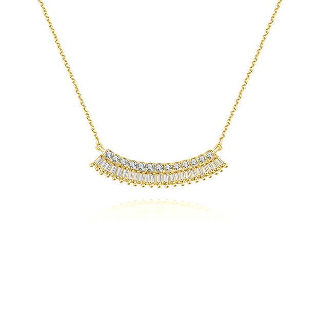 18k Gold Curve Shape with Rectangle Diamond Necklace - Genevieve Collection