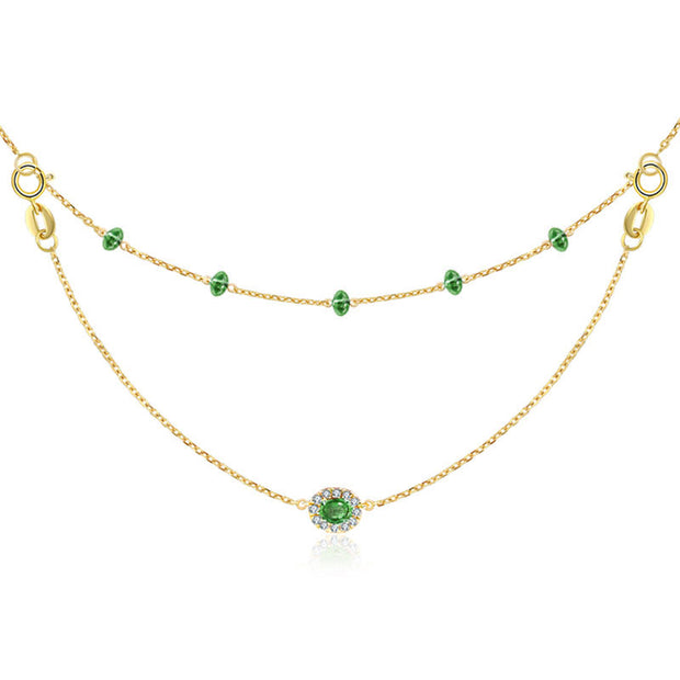 18k Gold 2 Ways By The Yard Emerald Bead Necklace