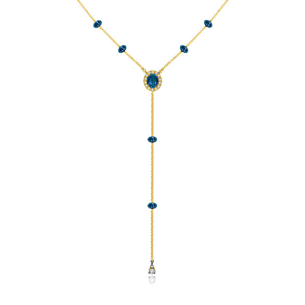 18k Gold By the Yard Sapphire Dangle Necklace