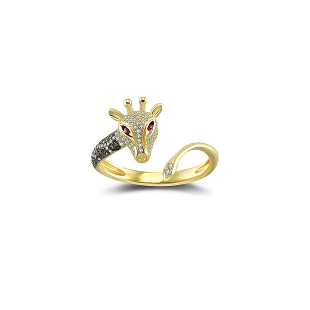 18k Gold Giraffe Shape Diamond Open Ring - Genevieve Collection