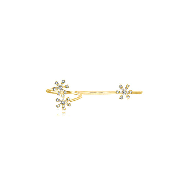 18k Gold Flower Pattern Diamond Double Ring