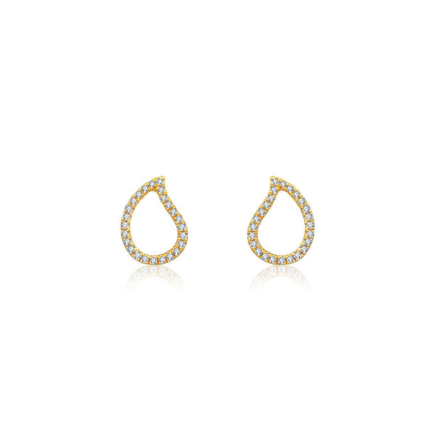 18k Gold Drop Shape Diamond Stud Earring - Genevieve Collection
