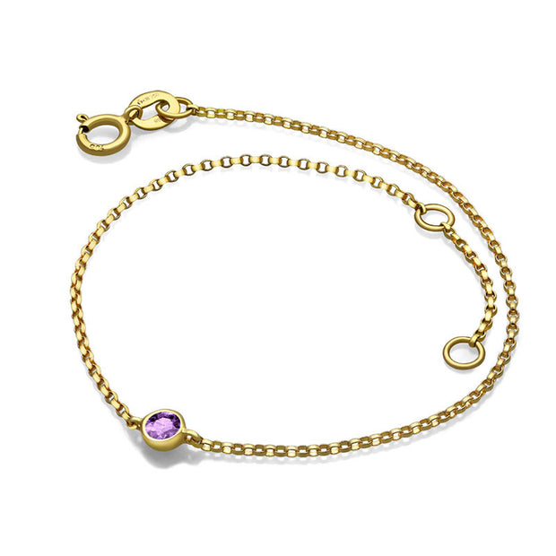 18k Gold June Birthstone Light Amethyst Bracelet - Genevieve Collection
