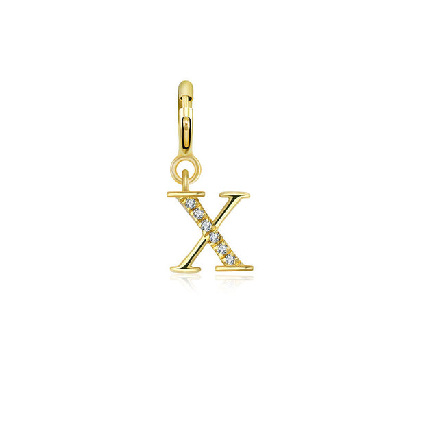 "18k Gold Letter ""X"" Diamond Charms - Genevieve Collection"