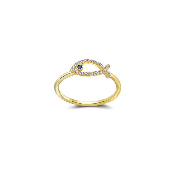18k Gold Fish Shape Diamond Ring with Sapphire - Genevieve Collection