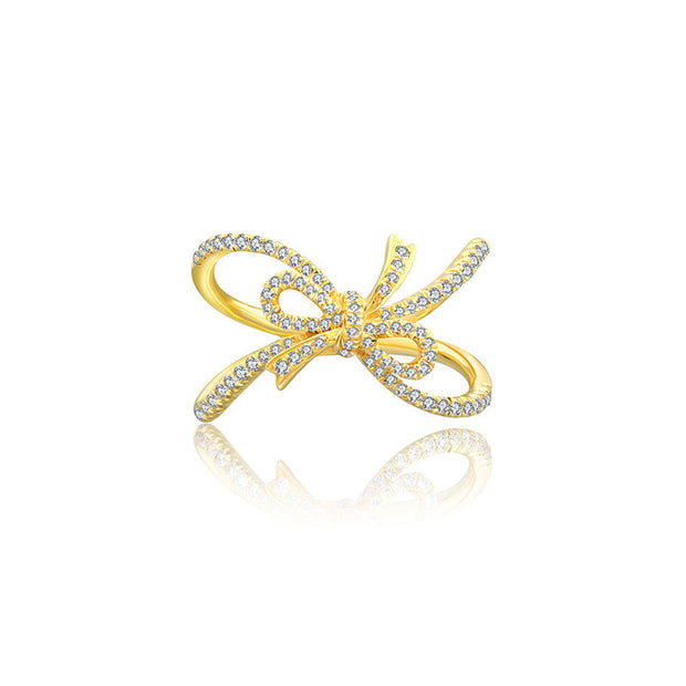 18k Gold Curved Ribbon Diamond Ring - Genevieve Collection
