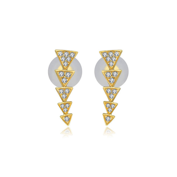 18k Gold Link Arrow Diamond Earring - Genevieve Collection
