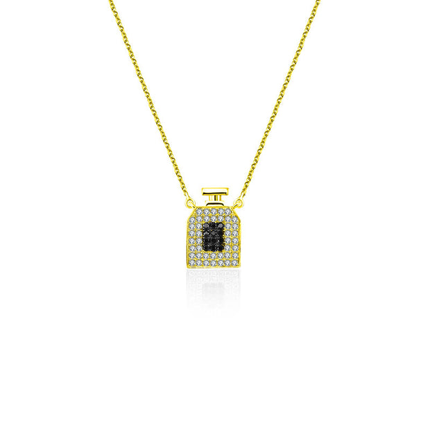 18k Gold Perfume Bottle Shape Diamond Necklace - Genevieve Collection