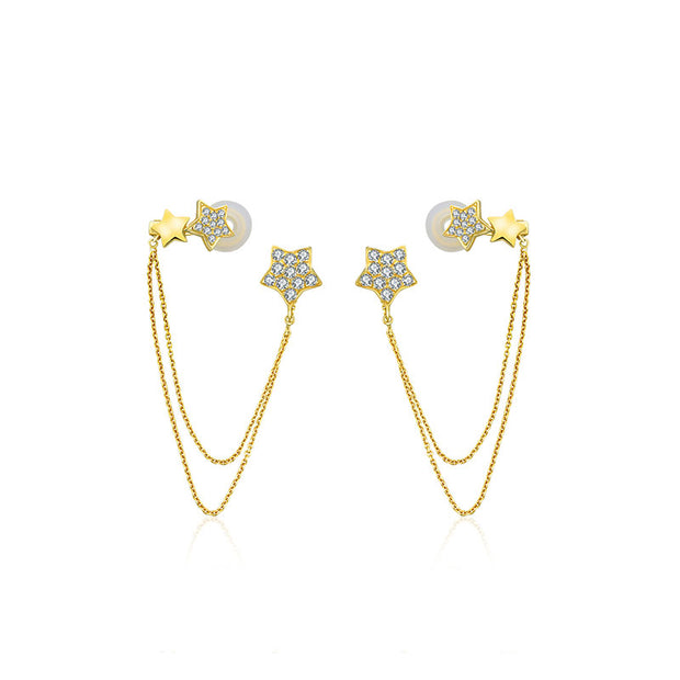 18k Gold Star Shape with Chain Diamond Ear Cuff & Earring - Genevieve Collection