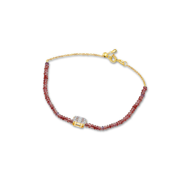 18k Gold Ruby Beaded with Square Shape Diamond Bracelet