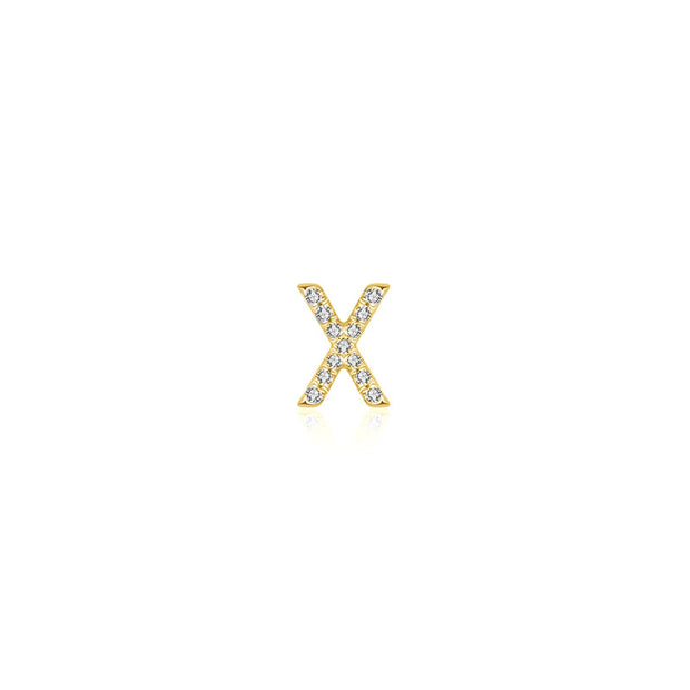 "18k Gold Initial Letter ""X"" Diamond Pandent + Necklace - Genevieve Collection"