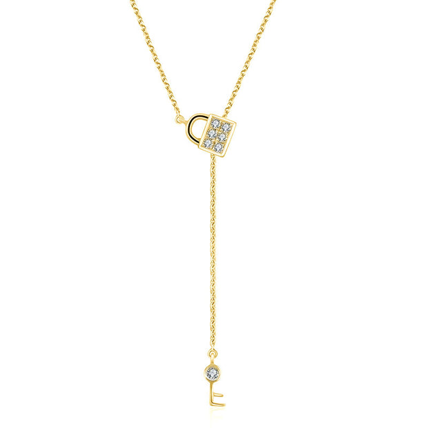 18k Gold Lock And Key Shape Adjustable Diamond Necklace