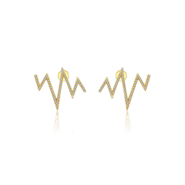 18k Gold Heartbeat Diamond Earring - Genevieve Collection