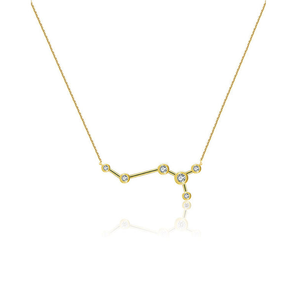 Scorpio Zodiac Constellation Necklace 18k Gold & Diamond - Genevieve Collection