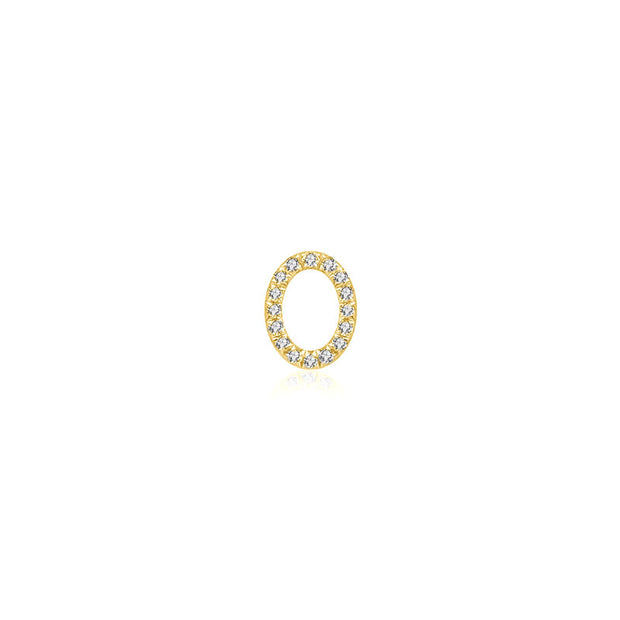 "18k Gold Initial Letter ""O"" Diamond Pandent + Necklace - Genevieve Collection"
