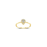 18k Gold Drop Shape Diamond Ring - Genevieve Collection