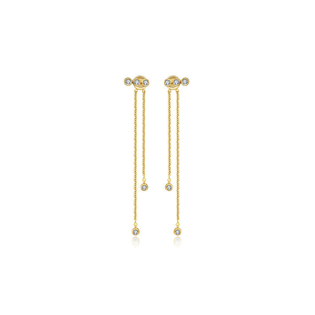 18k Gold Double Long Chain Diamond Earring - Genevieve Collection